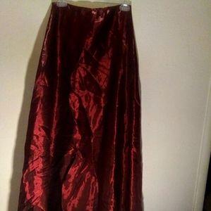 Shimmery deep red skirt